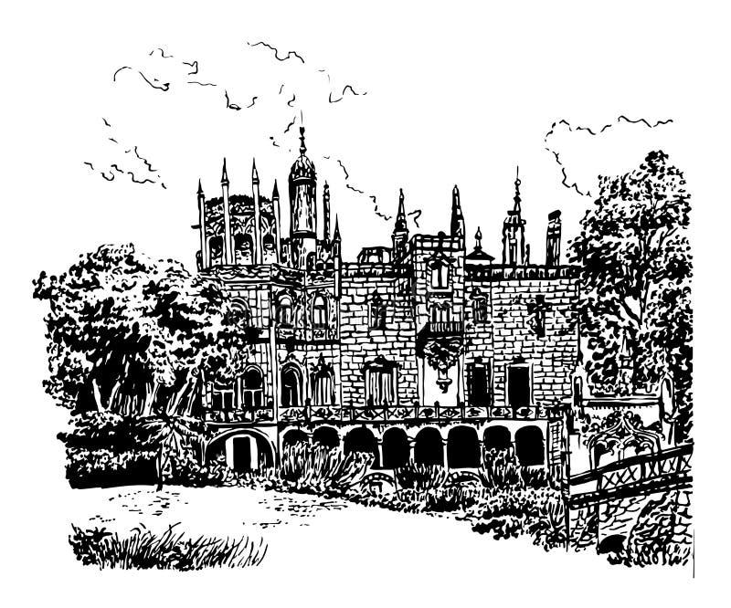 Achtergrondvoorgevel van het paleis in het landgoed van Quinta de Regaleira, in Sintra, Portugal, hand getrokken illustratie royalty-vrije illustratie