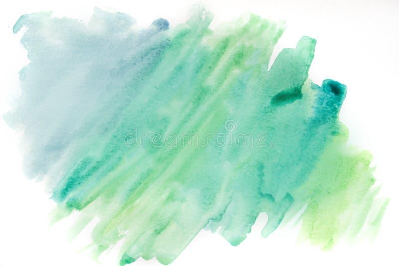 Achtergrondwaterverf, blauw en groen Abstracte textuur als achtergrond royalty-vrije stock fotografie