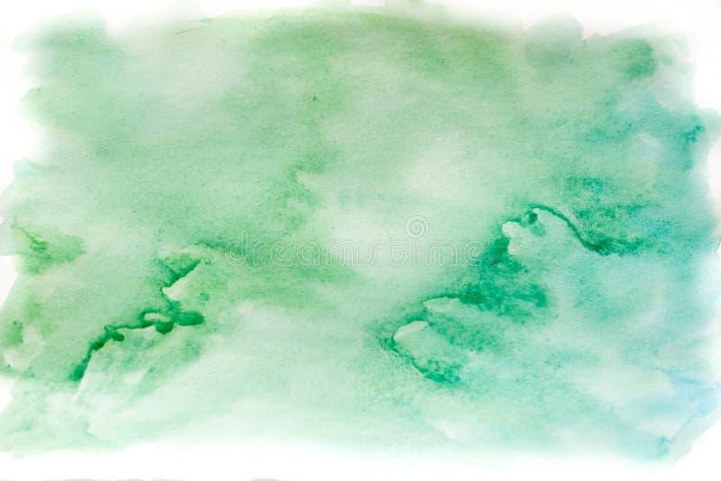 Achtergrondwaterverf, blauw en groen Abstracte textuur als achtergrond royalty-vrije stock foto