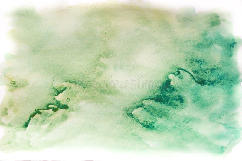 Achtergrondwaterverf, blauw en groen Abstracte textuur als achtergrond stock foto