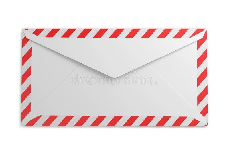 Achterkant van de envelop met gestreept kader op een witte backg stock illustratie