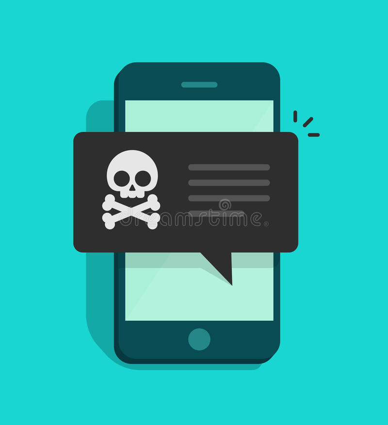 Achtermalwarebericht op mobiele telefoonvector, concept spamgegevens over cellphone, fraudefoutenmelding, zwendel, virus royalty-vrije illustratie