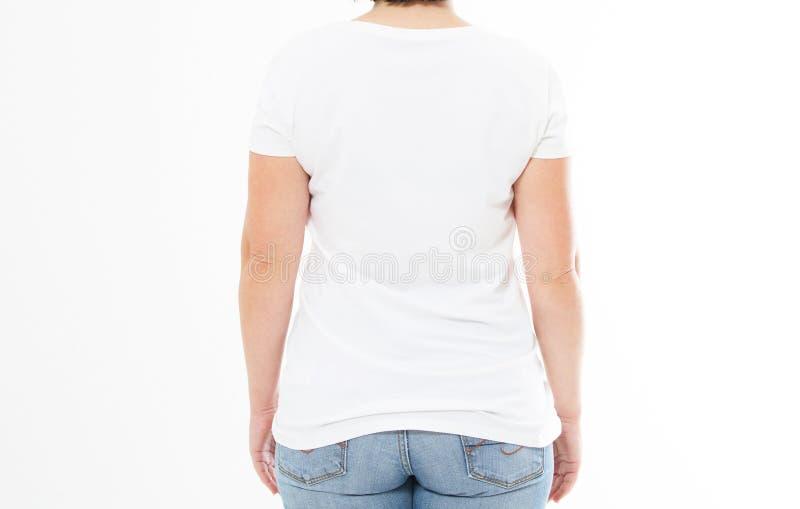 Achtermening - de vrouw in witte t-shirtspot omhoog, kopieert ruimte, lege t-shirt Meisje in t-shirt royalty-vrije stock foto's