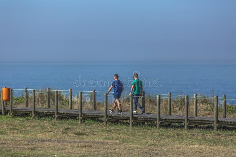 Achtermening die van twee mensen, en op de eco voetweg, dichtbij het overzees lopen spreken, stock afbeelding