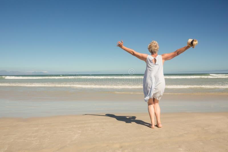 Achtermening die van vrouw zich op zand tegen duidelijke hemel bevinden royalty-vrije stock foto