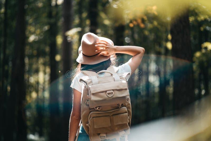Achtermening over knap reizigers hipster meisje met rugzak en hoed die in bos onder bomen lopen royalty-vrije stock afbeelding