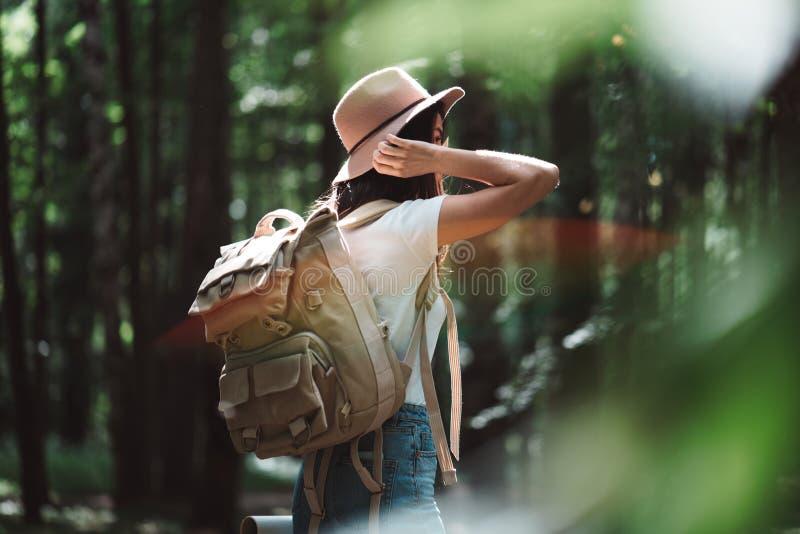 Achtermening over reizigersrugzak en hipster meisje die hoed dragen Jonge moedige vrouw die alleen onder bomen in bos in openluch stock afbeelding