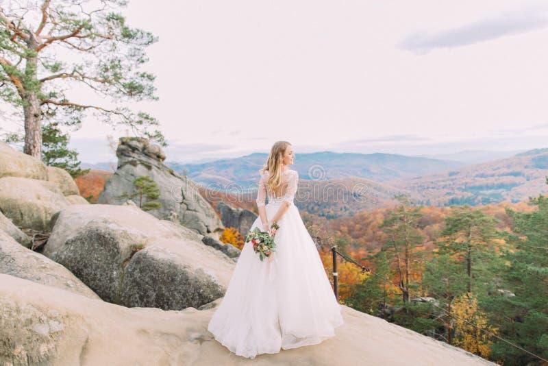 Achtermening van de bruid met het huwelijksboeket die zich op de rots bevinden en van de mening over het vergeelde bos genieten royalty-vrije stock afbeelding