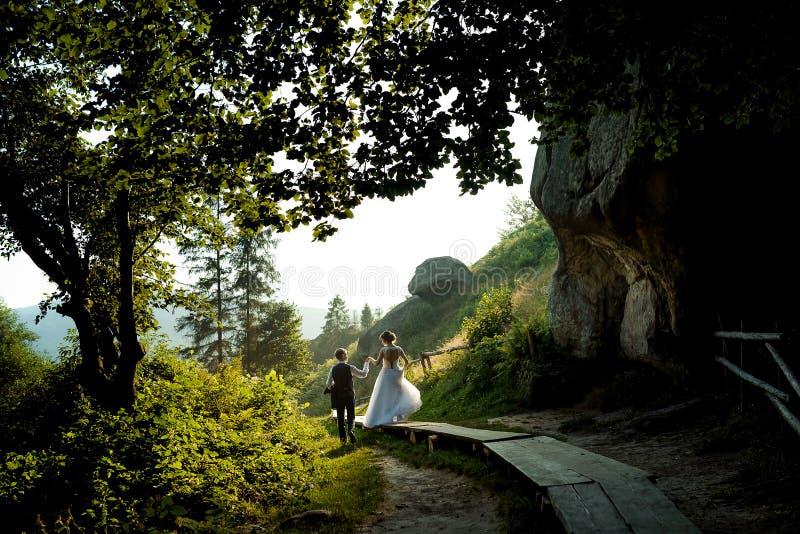 Achtermening van de jonge de holdingshanden van het jonggehuwdepaar terwijl het lopen langs de weg door het groene zonnige bos royalty-vrije stock foto