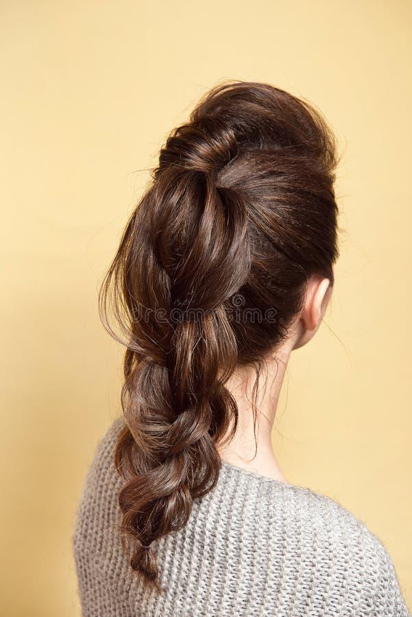 Achtermening van de vrouwelijke vlecht van het kapselvolume met bruin haar stock fotografie