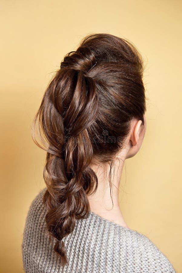 Achtermening van de vrouwelijke vlecht van het kapselvolume met bruin haar royalty-vrije stock fotografie
