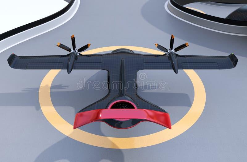 Achtermening van e-VTOL passagiersvliegtuigen op luchthavenparkeerterrein vector illustratie