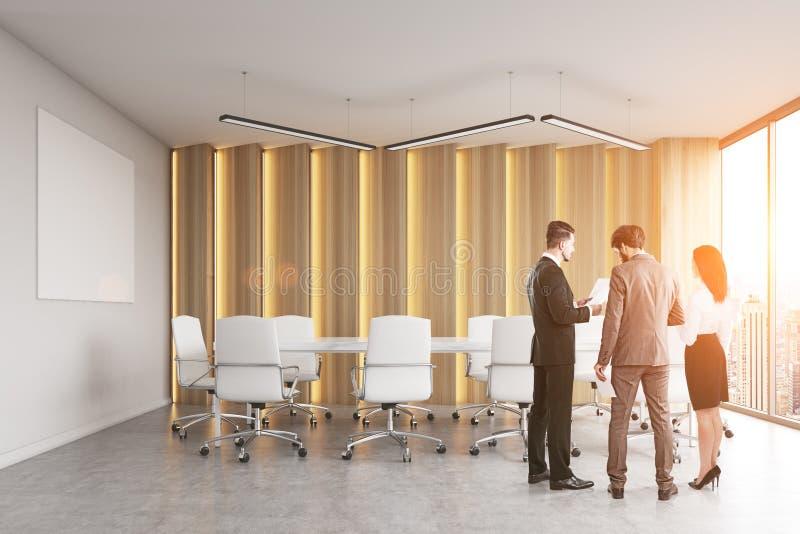 Achtermening van een groep die mensen bedrijfsmateriaal in een moderne ruimte van de bureauconferentie bespreken royalty-vrije illustratie