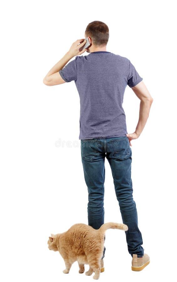 Achtermening van een mens met een kat die op de telefoon spreken stock foto