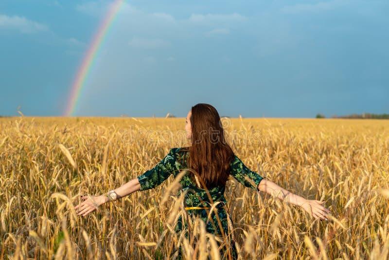 Achtermening van een vrouwenbrunette op een gebied met tarwehanden aan de kanten tegen de regenboog, vrijheid, genoegen, zuiverhe royalty-vrije stock afbeelding