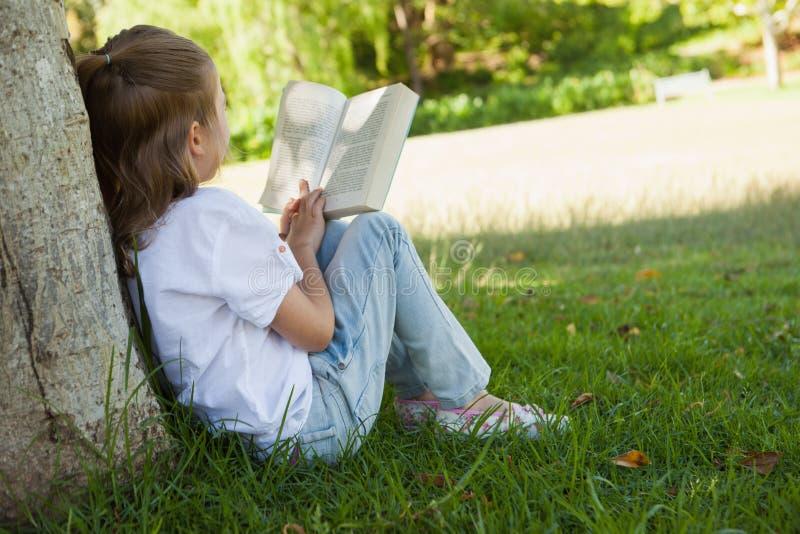 Achtermening van het boek van de meisjeslezing in park stock foto's