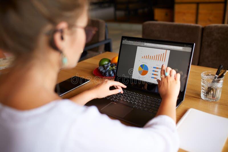 Achtermening van het jonge bedrijfs of studentenvrouw werken bij koffie met laptop computer, die touchscreen met vinger gebruiken royalty-vrije stock foto's