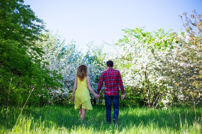 Achtermening van jong gelukkig paar die in de zomertuin lopen stock afbeeldingen