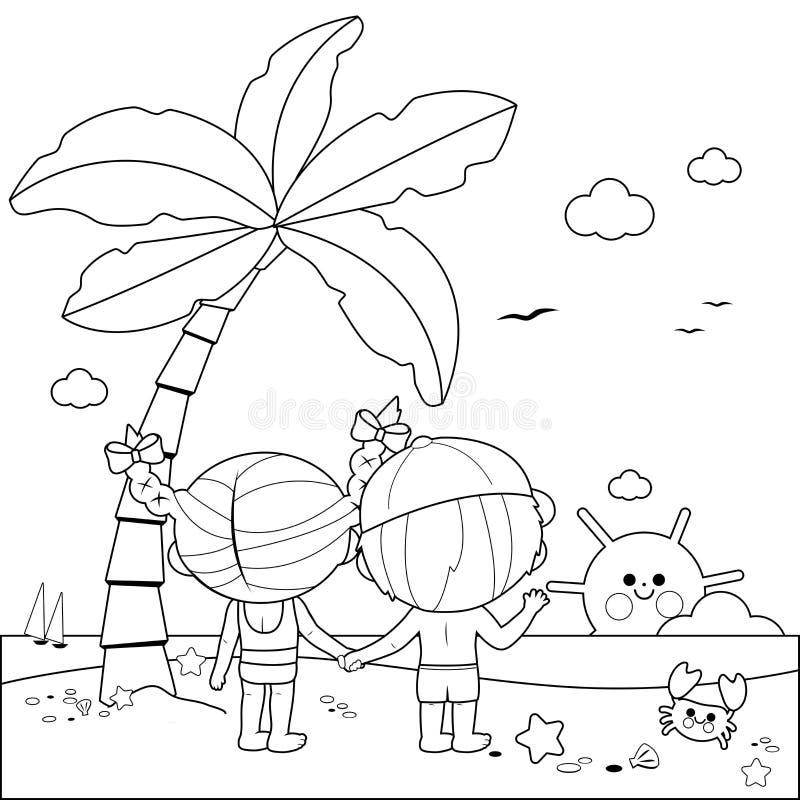 Achtermening van kinderen bij het strand onder een palm Zwart-witte kleurende boekpagina royalty-vrije illustratie