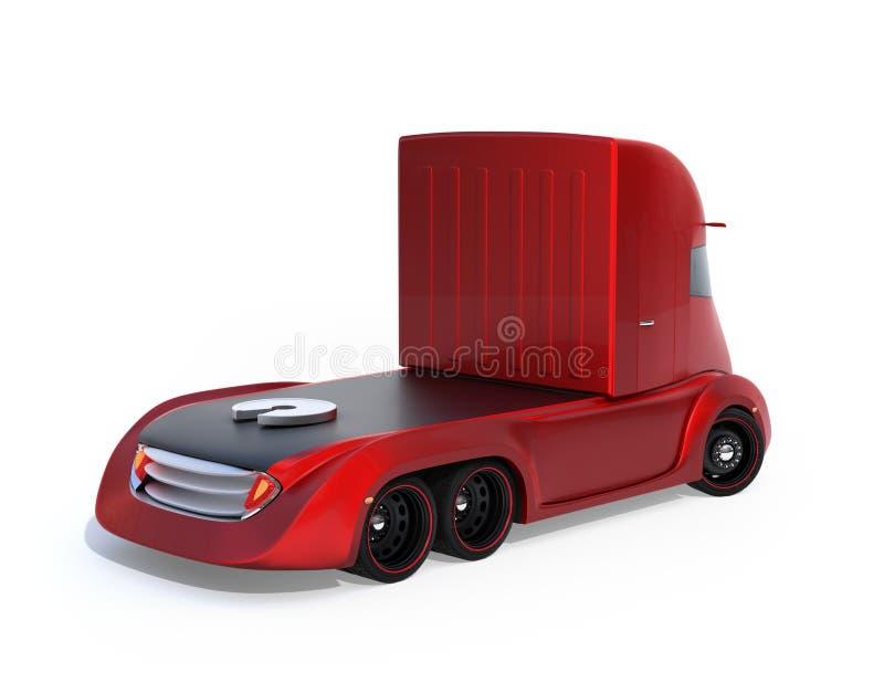 Achtermening van metaalrood zelf-drijft elektrische semi die vrachtwagen op witte achtergrond wordt geïsoleerd stock illustratie