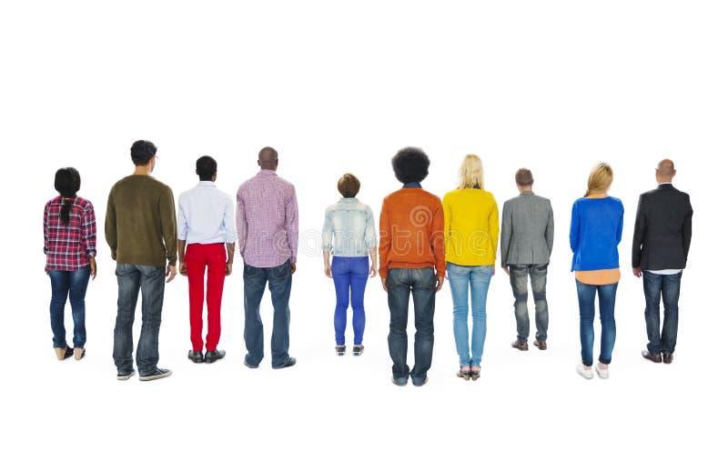 Achtermening van Multi-etnisch Groeps Mensen Concept stock afbeeldingen