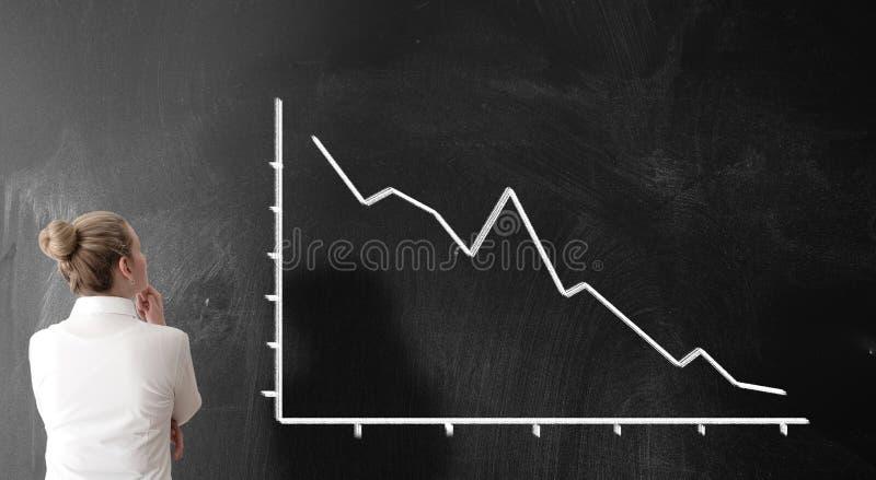 Achtermening van onderneemster die negatieve grafiek met het laten vallen van prijzen bekijken royalty-vrije stock fotografie