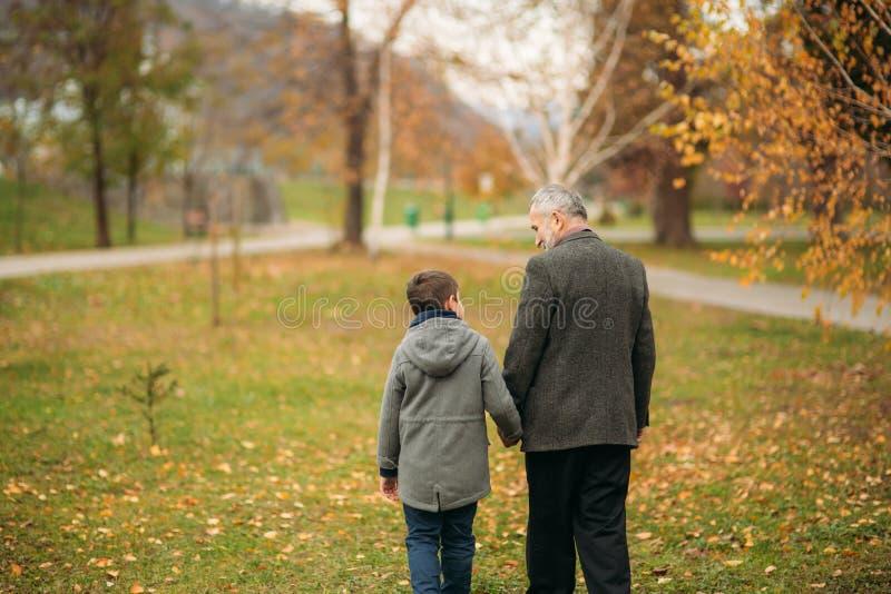 Achtermening van opa en kleinzoon in park Kinderjaren De herfst stock afbeeldingen