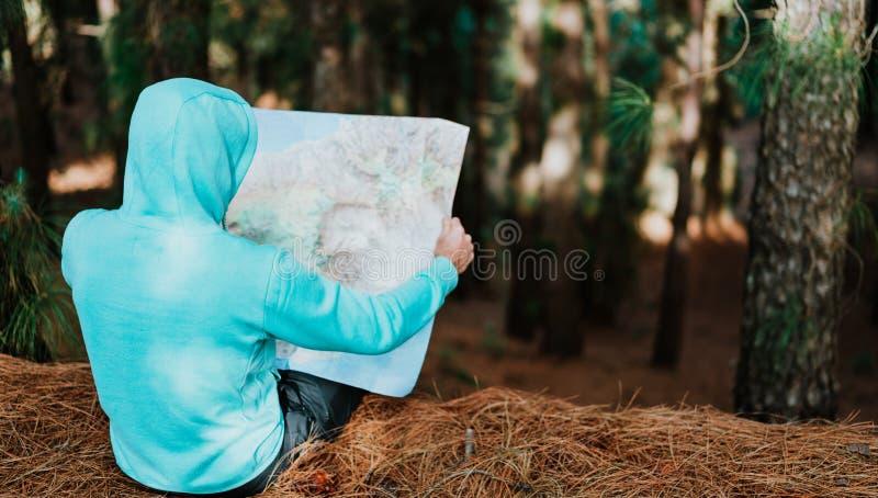 Achtermening van reiziger in blauwe hoodie die landmap houden terwijl het rusten in pijnboombos stock foto's
