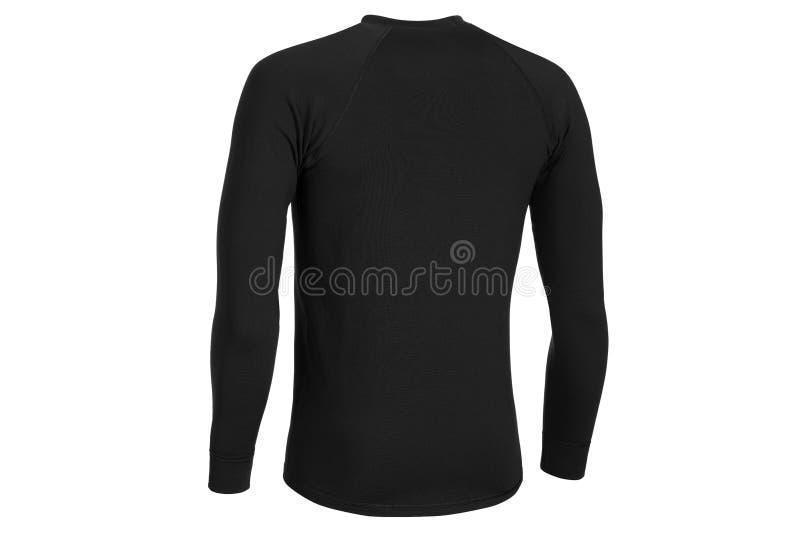 Achtermening van thermo actieve ondergoedkleding in zwarte kleur stock foto
