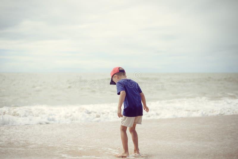 Achtermening van weinig jongen die langs het strand tijdens de zonsondergang lopen stock fotografie
