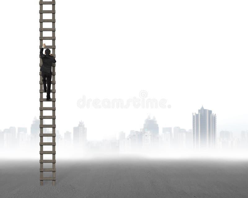 Achtermening van zakenman het beklimmen op houten ladder stock foto's
