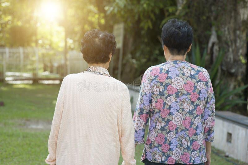 Achtermenings Aziatische bejaarden die bij openluchtpark lopen stock foto