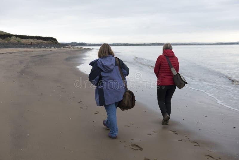 Achtermeningsbeeld van een rijp vrouwelijk paar die langs het strand lopen stock afbeeldingen
