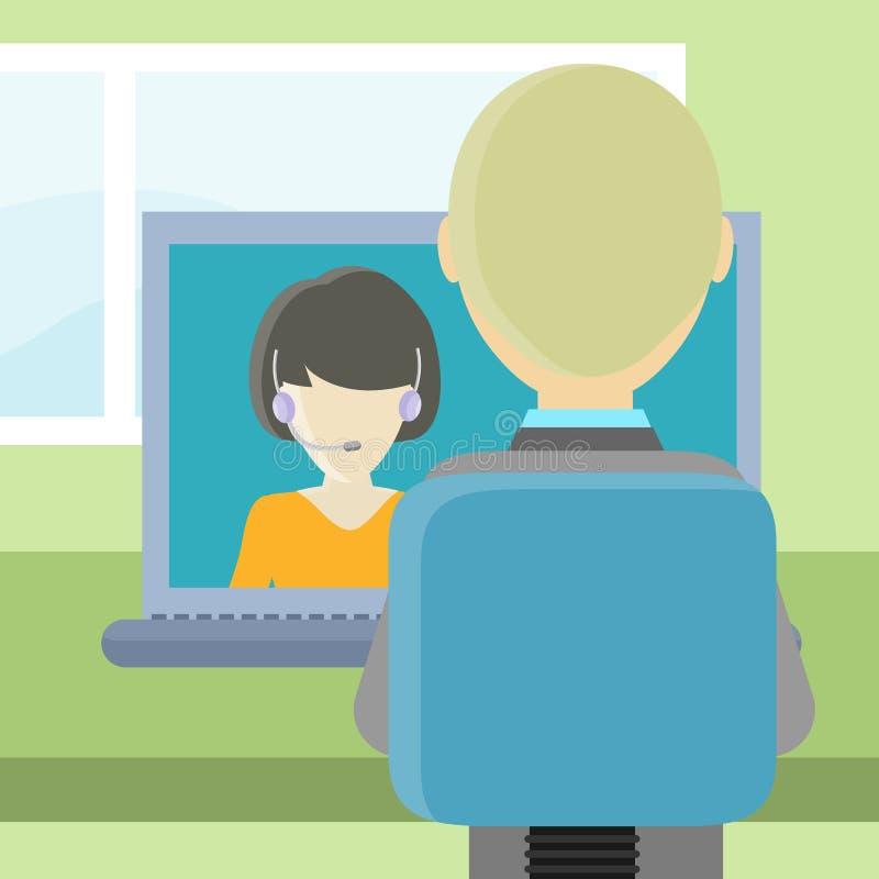 Achtermeningsclose-up van een Mens op de Computer royalty-vrije illustratie