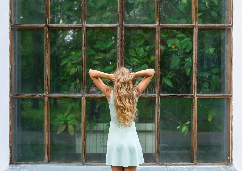 Achtermeningsportret van jonge romantische vrouw in een botanische tuin royalty-vrije stock afbeeldingen