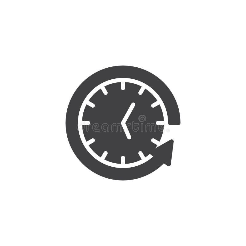 Achterpijl rond klok vectorpictogram royalty-vrije illustratie