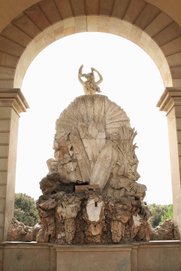 Achterplaats van Cascada Monumentaal in Barcelona stock foto's