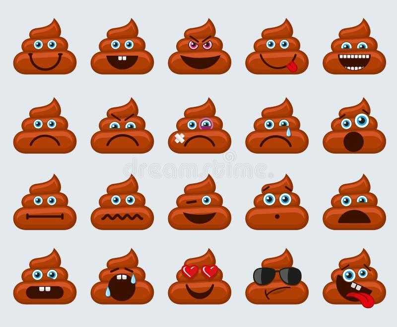 Achterschip emoticons smileys pictogrammen stock illustratie