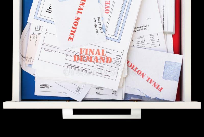 Achterstallige & Onbetaalde Rekeningen in Lade stock foto's