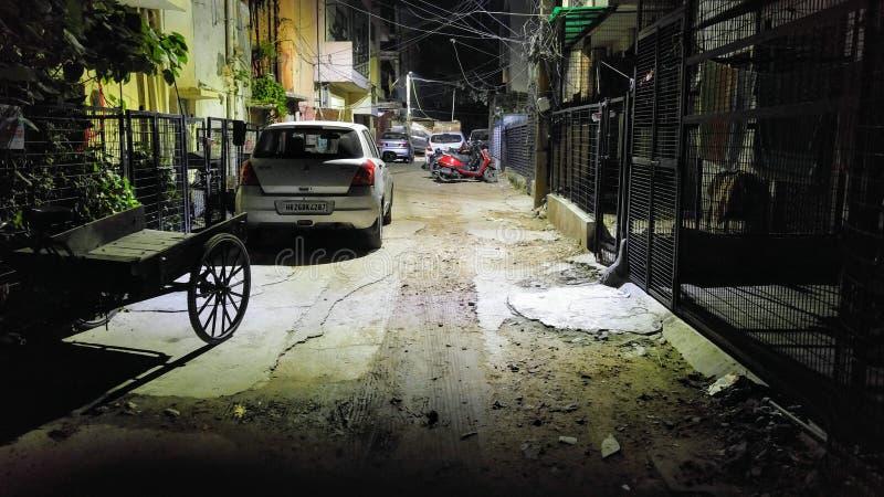 Achterstraat h-Blok van Zuid- malviya Nagar Delhi stock fotografie