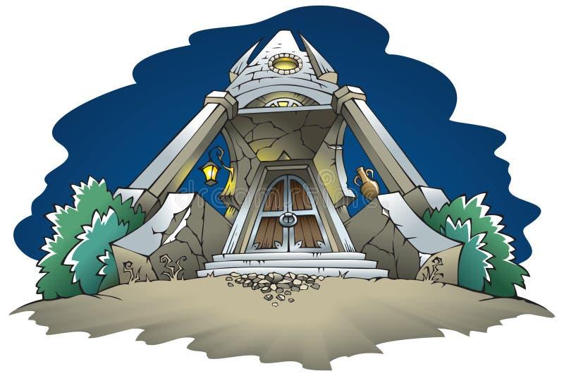 Achtervolgd herenhuis bij nacht royalty-vrije illustratie