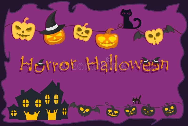 Achtervolgde pompoen, huis en zwarte kat op violette achtergrond voor Halloween-festival vector illustratie