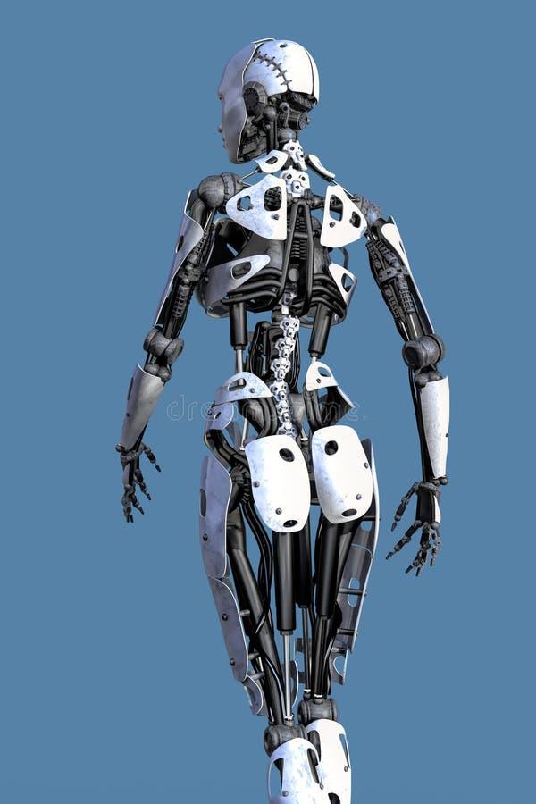 Achterweergeven van een Vrouwelijke Robot vector illustratie