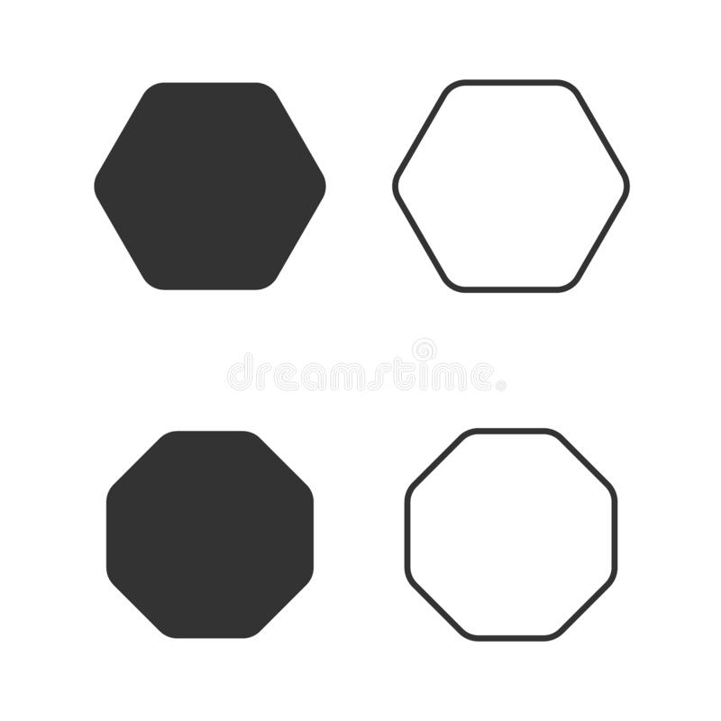 Achthoekpictogram van vector de achthoeklijn van de meetkunde achthoekige acht opgeruimde veelhoek vector illustratie
