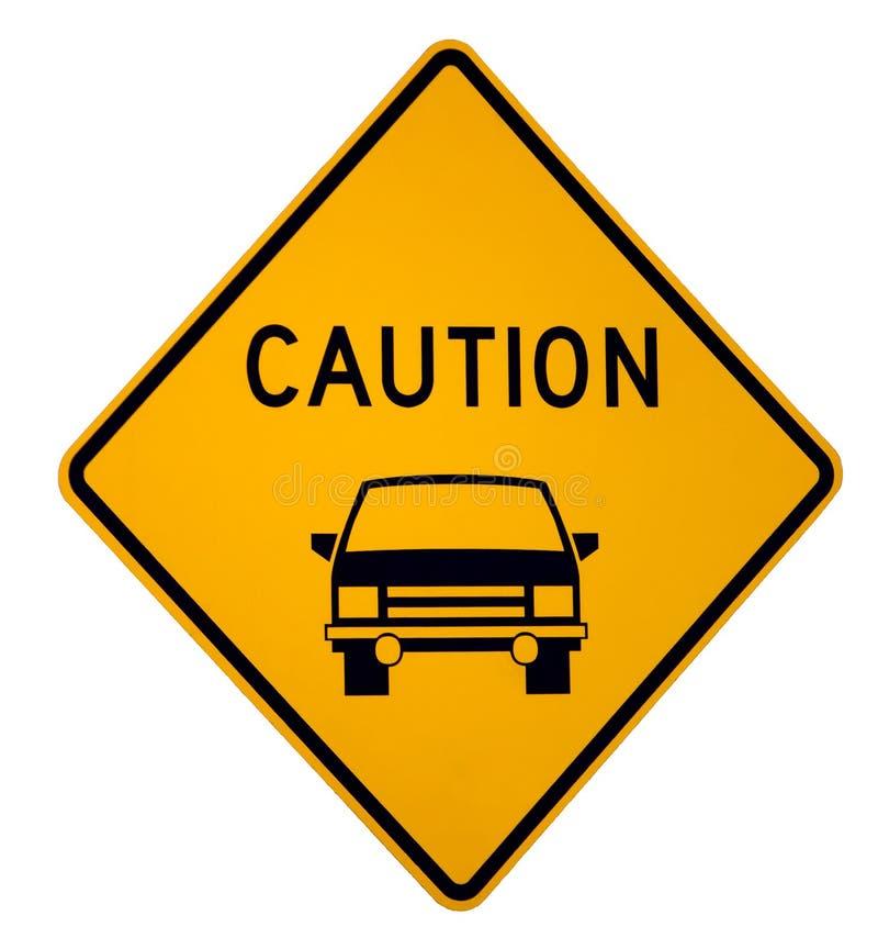 Achtung-Fahrzeug voran stockfotos