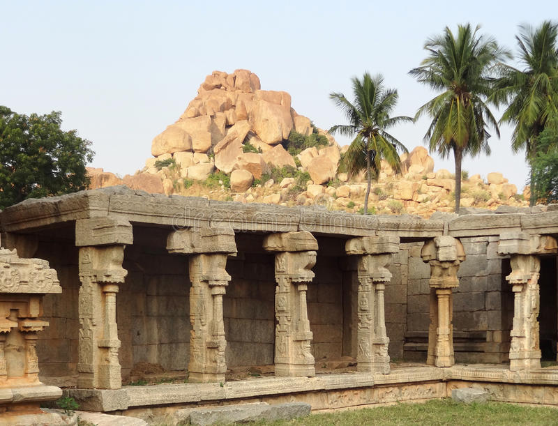AchyutaRaya Temple at Vijayanagara stock photos
