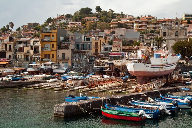 Aci Trezza,卡塔尼亚,西西里岛,意大利 免版税库存图片