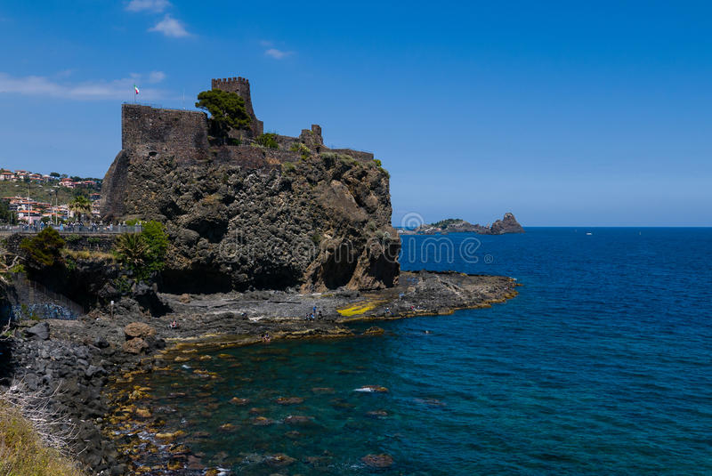 Acicastello- Sicily. Aci Castello is a comune in the Province of Catania in Sicily, Italy. The city is located 9 kilometres 6 mi north of Catania on the royalty free stock image