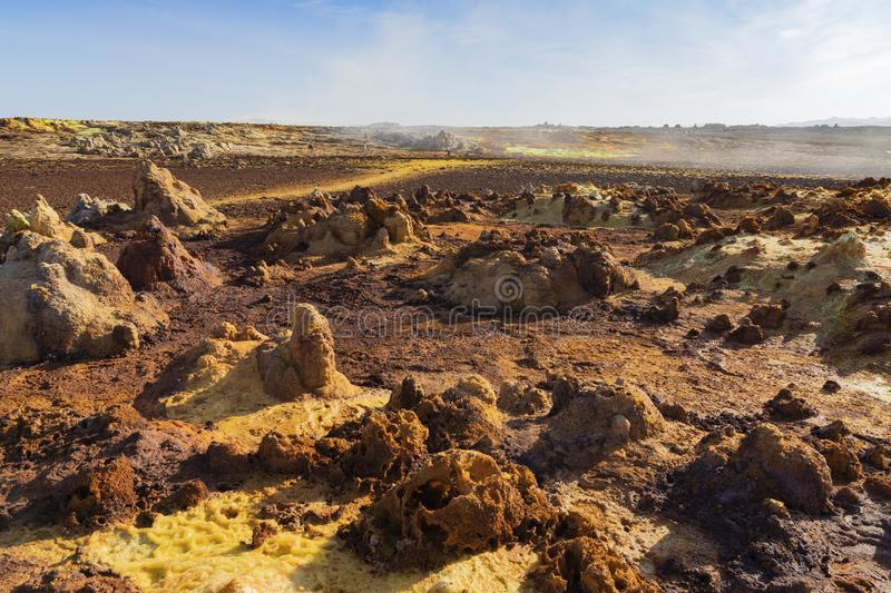 Acid concretions in Dallol site in the Danakil Depression in Ethiopia, Africa. Acid concretions in Dallol site in the Danakil Depression in Ethiopia in Africa royalty free stock images