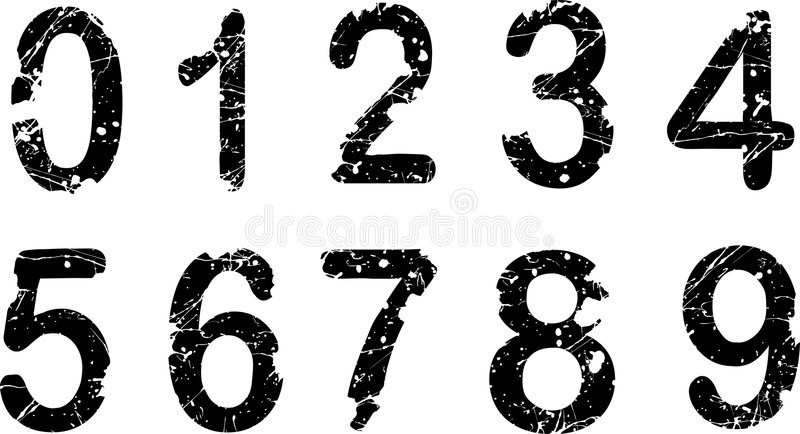 Acid etched numbers stock illustration